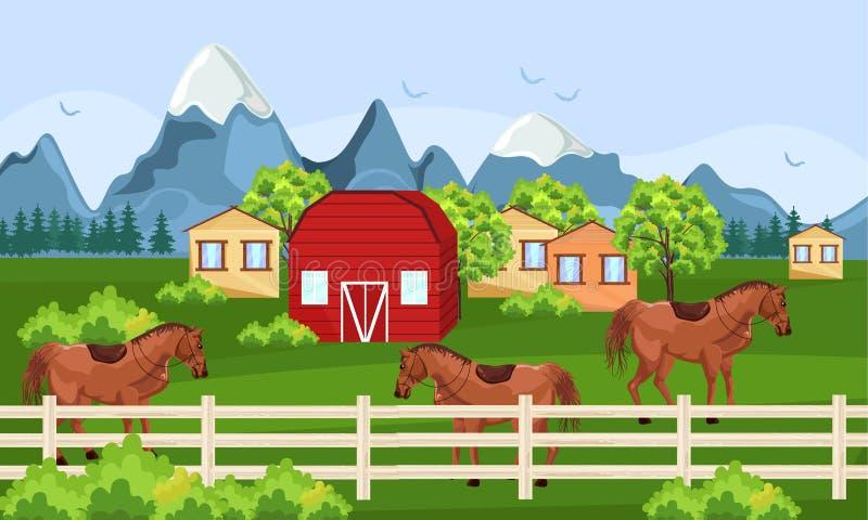 Ferme de chevaux, vecteur vert de champ Milieux ensoleillés de jour d'été de ville de ferme illustration de vecteur