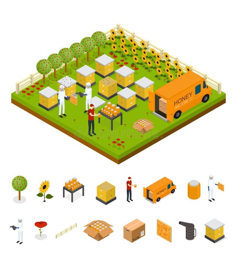 Ferme de rucher de l'apiculture et vue isométrique de pièce d'éléments Vecteur illustration libre de droits
