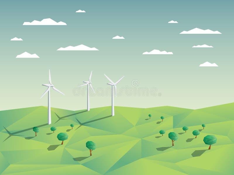 Ferme de vent dans les domaines verts parmi des arbres écologie illustration stock
