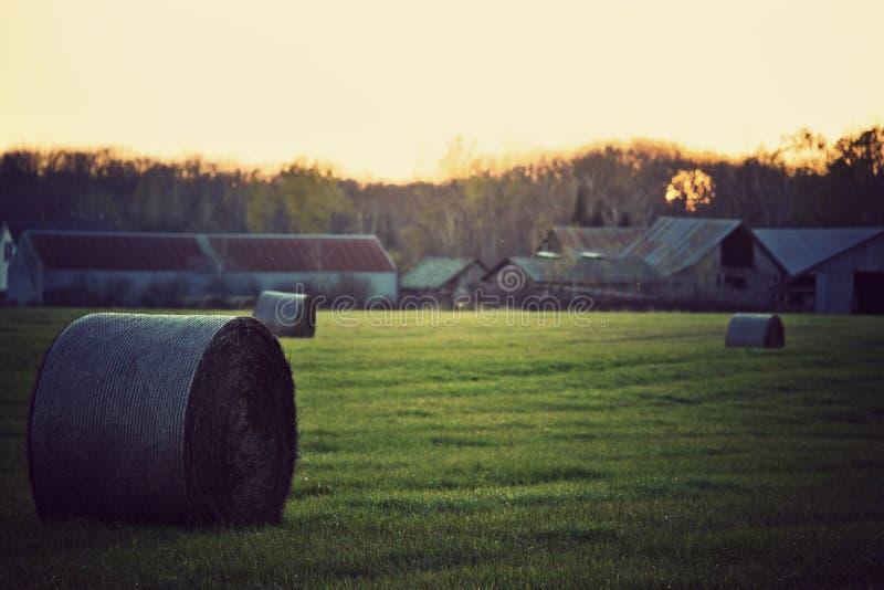 Ferme du Wisconsin au coucher du soleil. photo stock