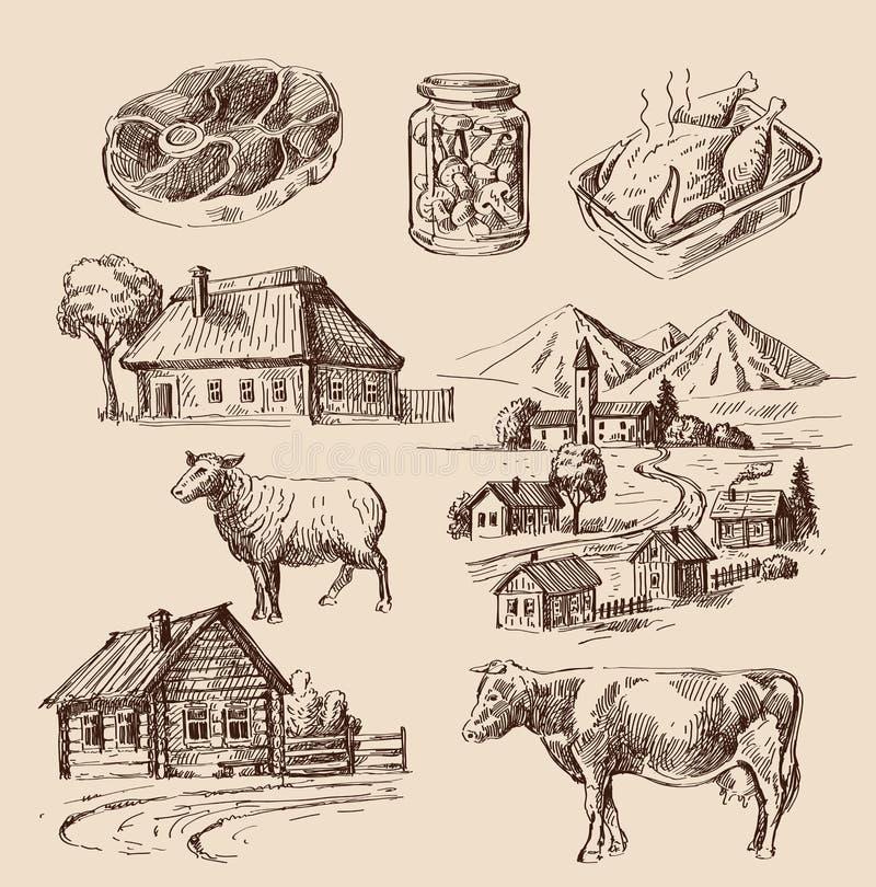 Ferme et animaux tirés par la main illustration de vecteur
