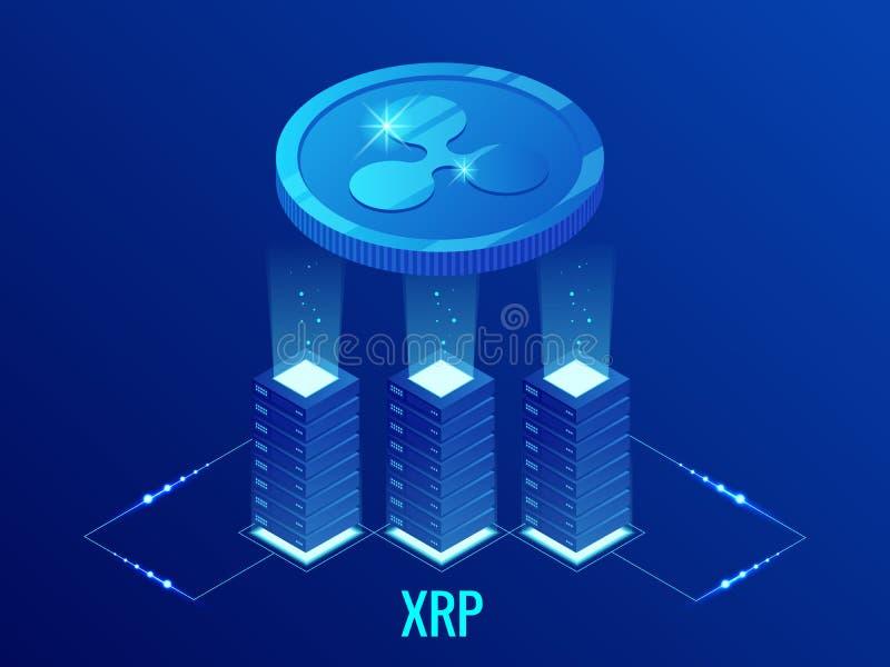 Ferme isométrique d'exploitation de la pièce de monnaie XRP Cryptocurrency d'ondulation Technologie de Blockchain, cryptocurrency illustration de vecteur