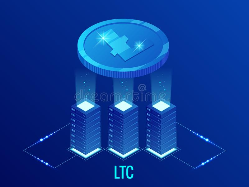 Ferme isométrique d'exploitation de Litecoin LTC Cryptocurrency Technologie de Blockchain, cryptocurrency et un réseau numérique  illustration libre de droits