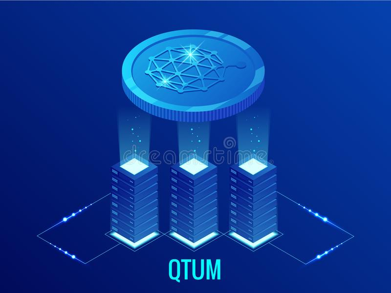 Ferme isométrique d'exploitation de QTUM Cryptocurrency Technologie de Blockchain, cryptocurrency et un réseau numérique de paiem illustration stock