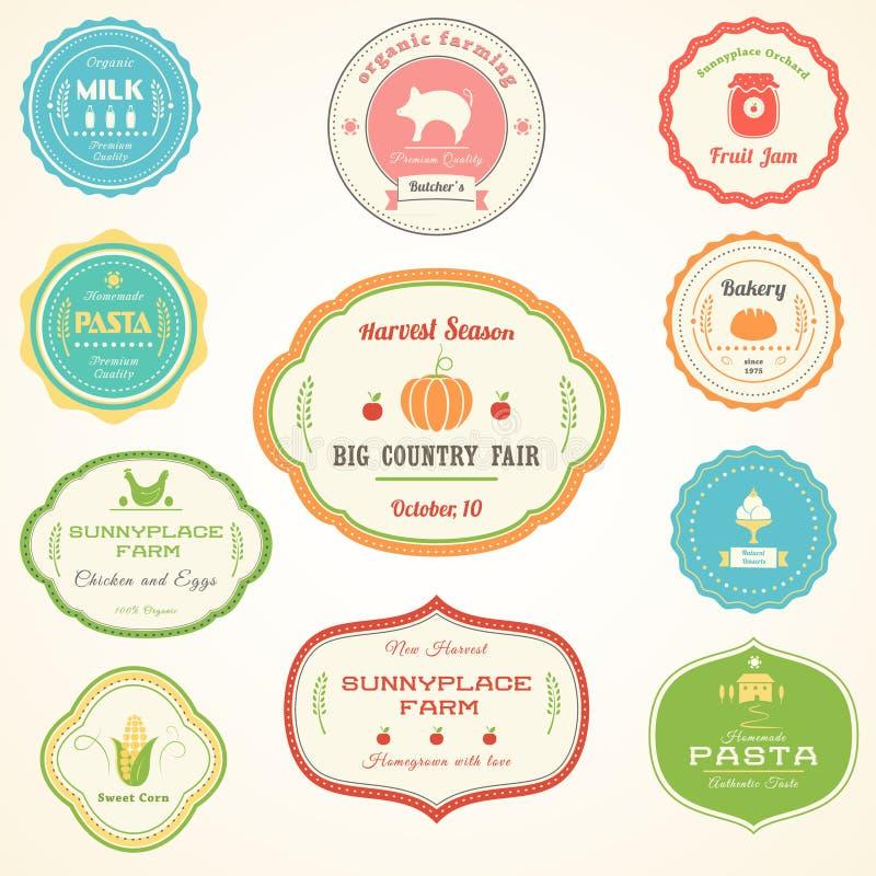 Ferme, nourriture, épicerie, labels de vintage de produits de boulangerie illustration stock