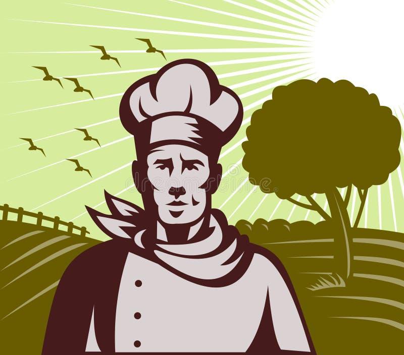 Ferme organique de chef ou de cuisinier de Baker illustration de vecteur