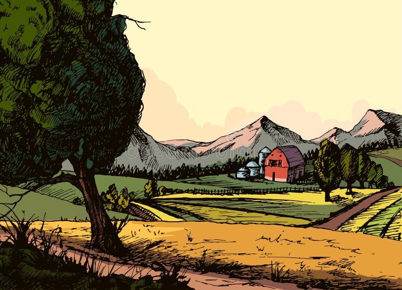 Ferme organique de vintage, paysage de campagne avec le foin, champ et village illustration de vecteur