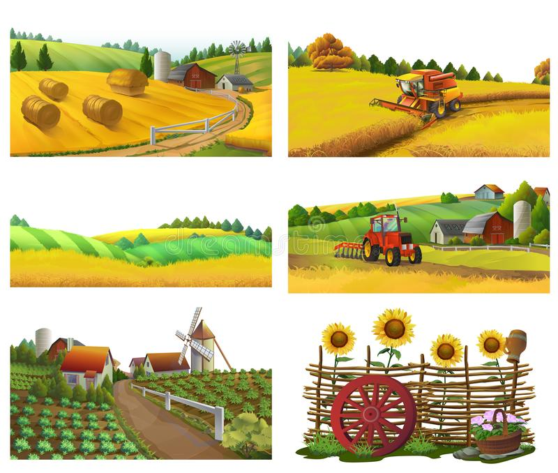 Ferme, paysage rural, ensemble de vecteur illustration libre de droits
