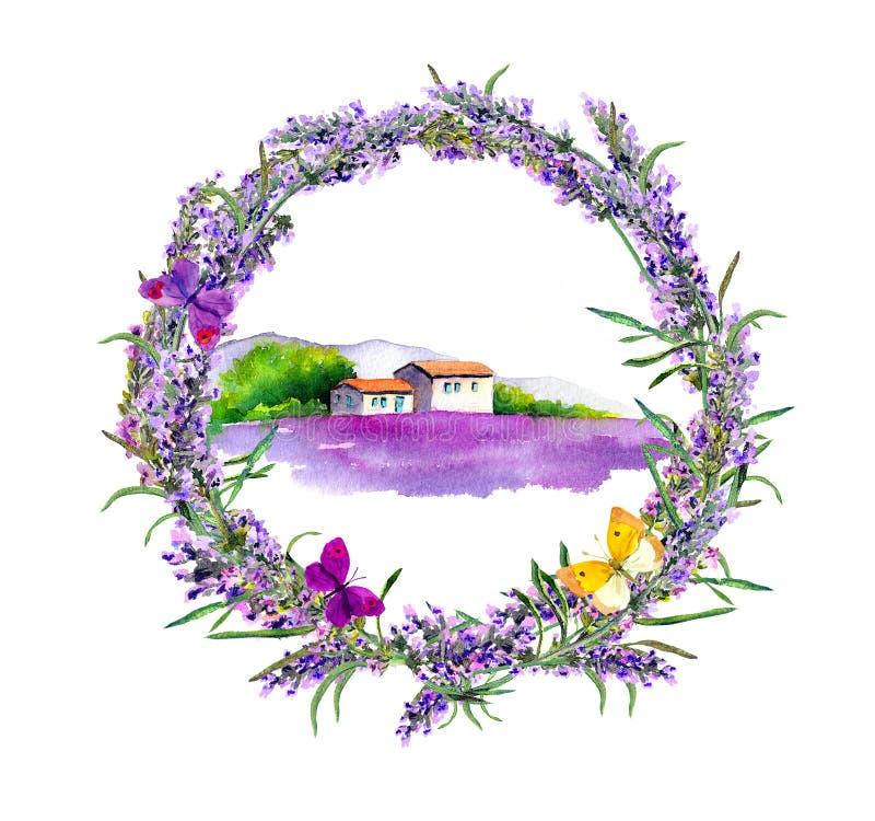 Ferme rurale, gisement de fleurs de lavande en Provence watercolor illustration libre de droits