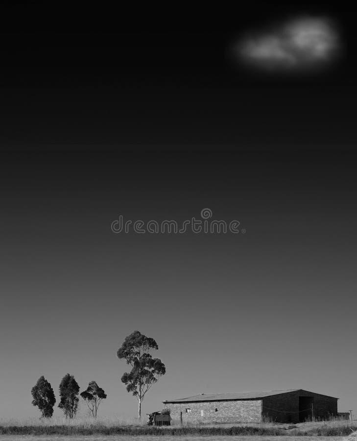 Ferme sur la prairie - noire et blanche image stock