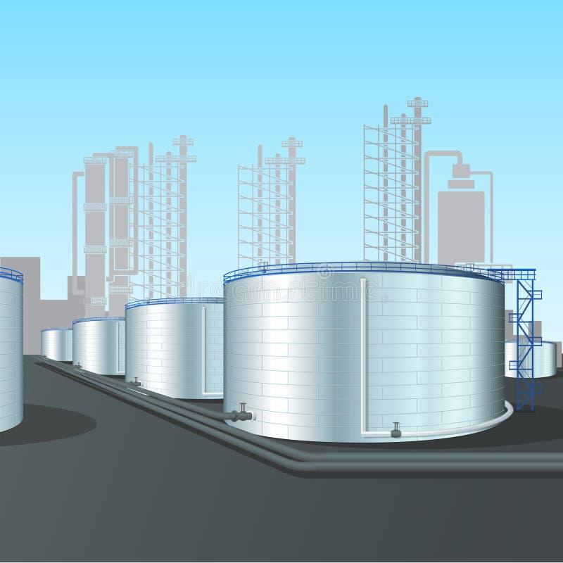 Ferme verticale de réservoir en acier de raffinerie avec la canalisation illustration libre de droits