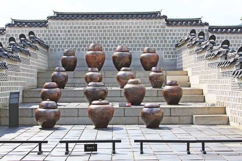 The Fermentation Jars In Gyeongbokgung Palace. Gyeongbokgung Palace built in 1395, was the main royal palace of the Joseon dynasty royalty free stock photos