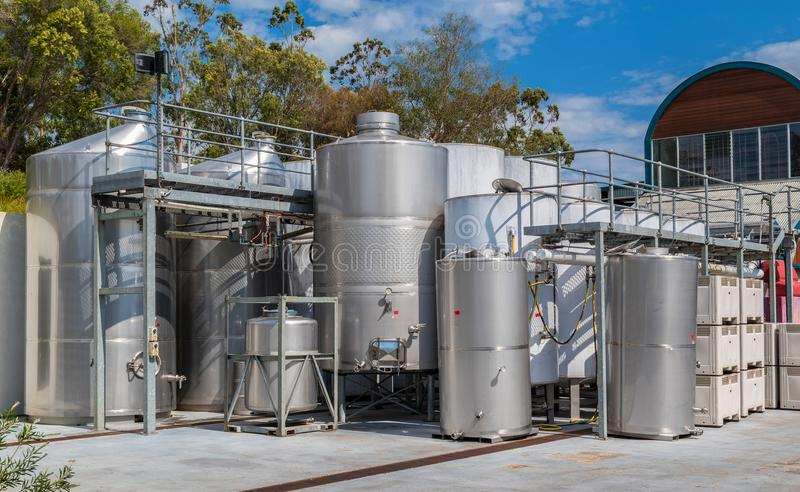 Fermentation Tanks in a Winery royalty free stock photo