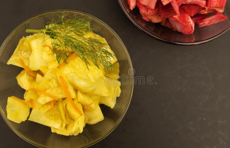 Fermented cabbage with turmeric and carrots and fermented cabbage with beets stock image