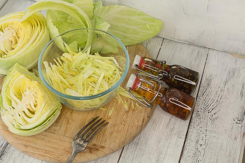 Fermented cabbage on a white background royalty free stock photos