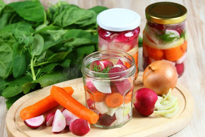 Fermented radish and carrot. Pickles stock images