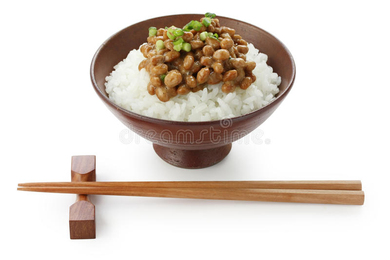 Fermented soy beans on rice , japanese food royalty free stock photography