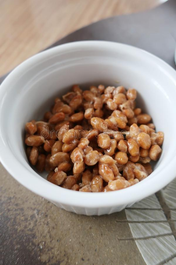 Fermented soybeans natto stock photo