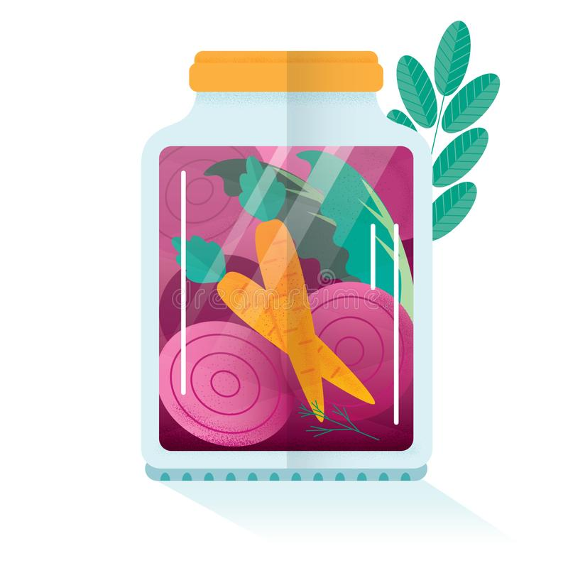 Fermentujący warzywa w słoju ilustracja wektor