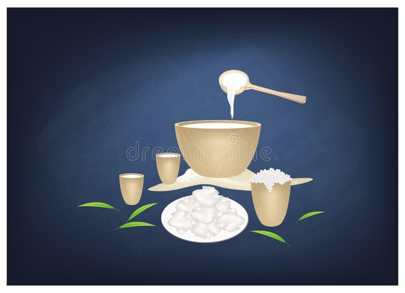Fermentujący wielbłąda mleko z Kwaśnym smakiem na Chalkboard royalty ilustracja