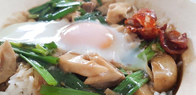 Fermer le riz cuit avec de la saucisse chinoise photo stock