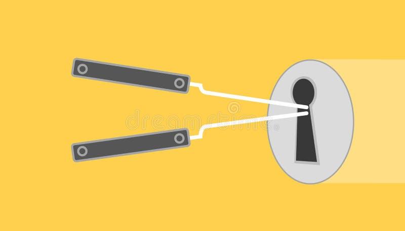 Fermez à clef l'illustration de sélection avec le fond jaune sélectionné par serrure avec le style plat illustration libre de droits