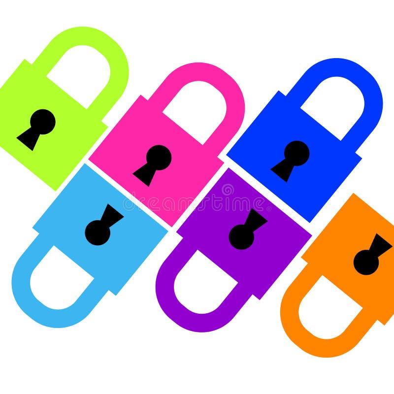 Fermez à clef la couleur ouverte-fermée de vecteur d'icône nouvelle illustration stock