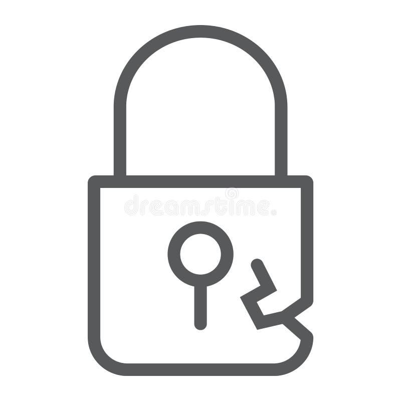 Fermez à clef la ligne icône, intimité d'infraction et la protégez, signe de cadenas, les graphiques de vecteur, un modèle l illustration stock