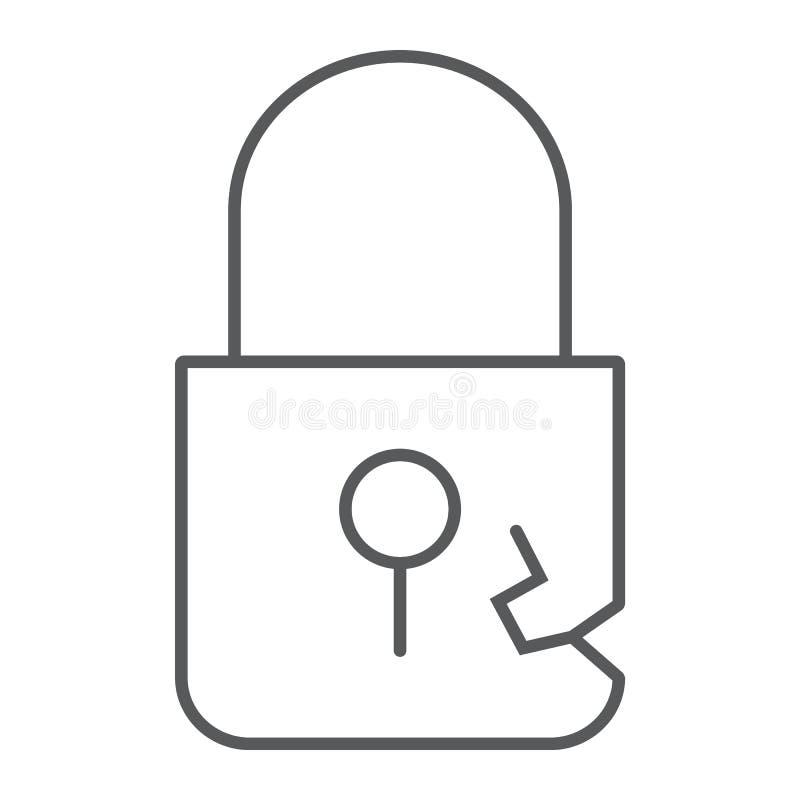 Fermez à clef la ligne mince icône, intimité d'infraction et la protégez, signe de cadenas, les graphiques de vecteur, un mod illustration de vecteur