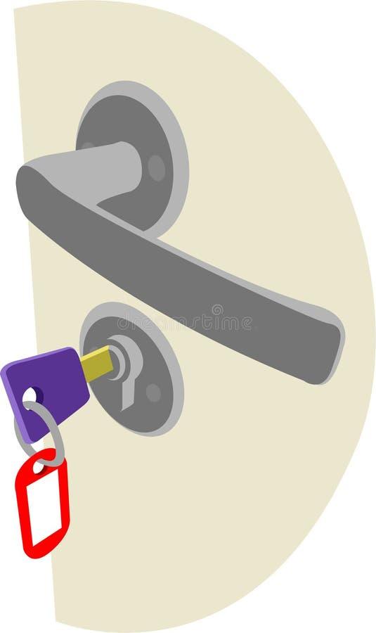 Fermez à clef la poignée et la clé avec l'étiquette illustration de vecteur
