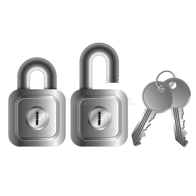 Fermez à clef le vecteur ouvert et fermé illustration stock