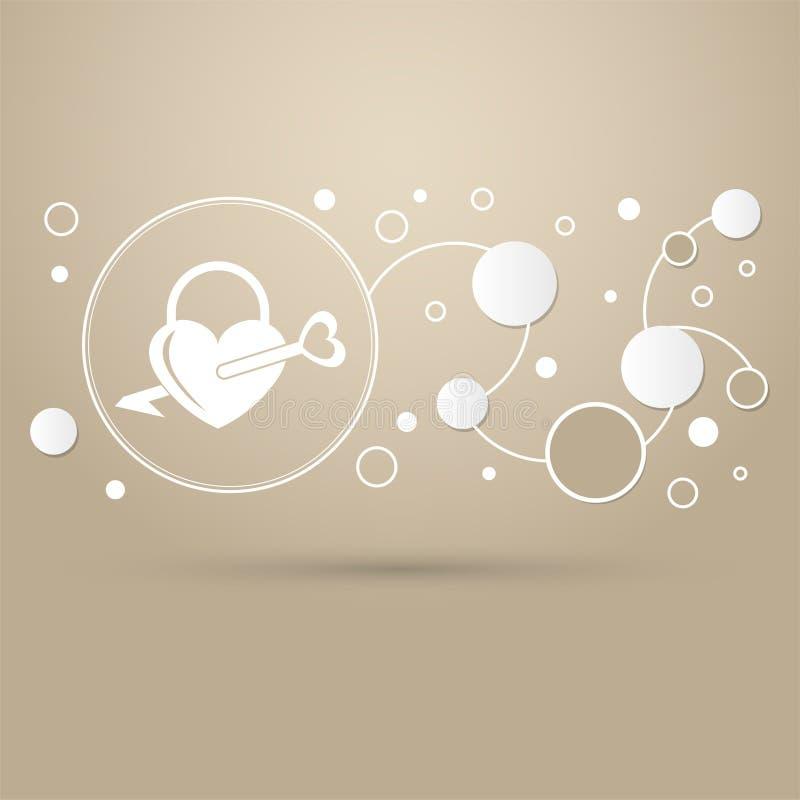 Fermez à clef les icônes Une silhouette simple de la serrure pour la porte Forme d'un coeur sur un fond brun avec le style élégan illustration libre de droits