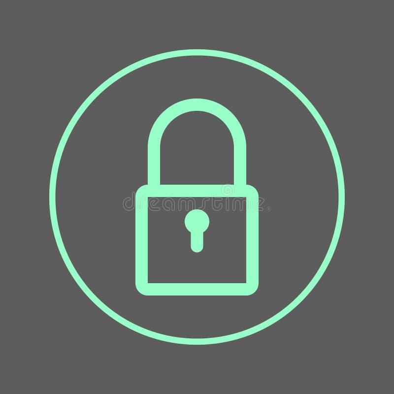 Fermez à clef, padlock la ligne circulaire icône Signe coloré rond de mot de passe Symbole plat de vecteur de style illustration libre de droits