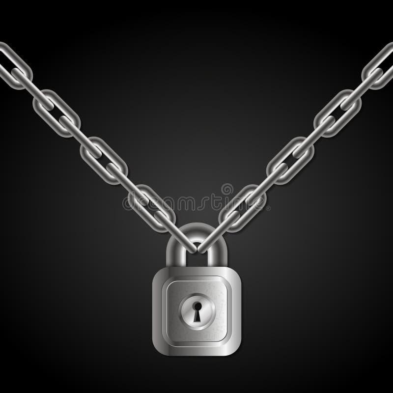 Fermez à clef sur des chaînes illustration libre de droits