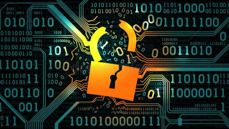 Fermez à clef sur la carte électronique futuriste d'abrégé sur fond avec le code binaire, technologie numérique d'ordinateur, cad illustration stock
