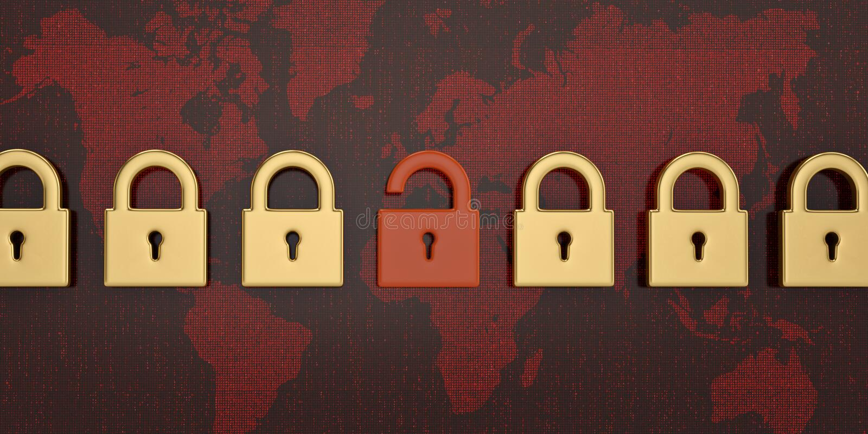 Fermez à clef sur le fond numérique de carte du monde rouge illustration 3D illustration de vecteur