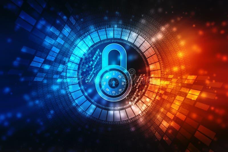 Fermez à clef sur le fond numérique, la sécurité de Cyber et la sécurité d'Internet illustration stock
