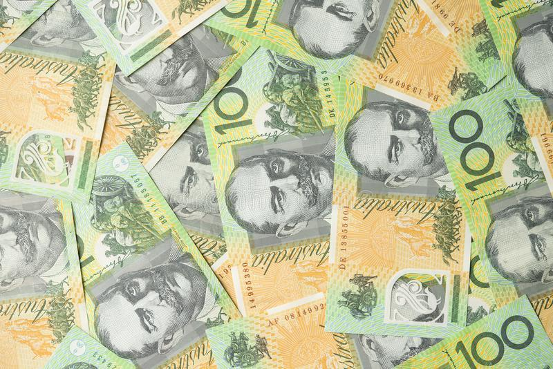 Fermez de l'Australien cent billets d'un dollar image libre de droits