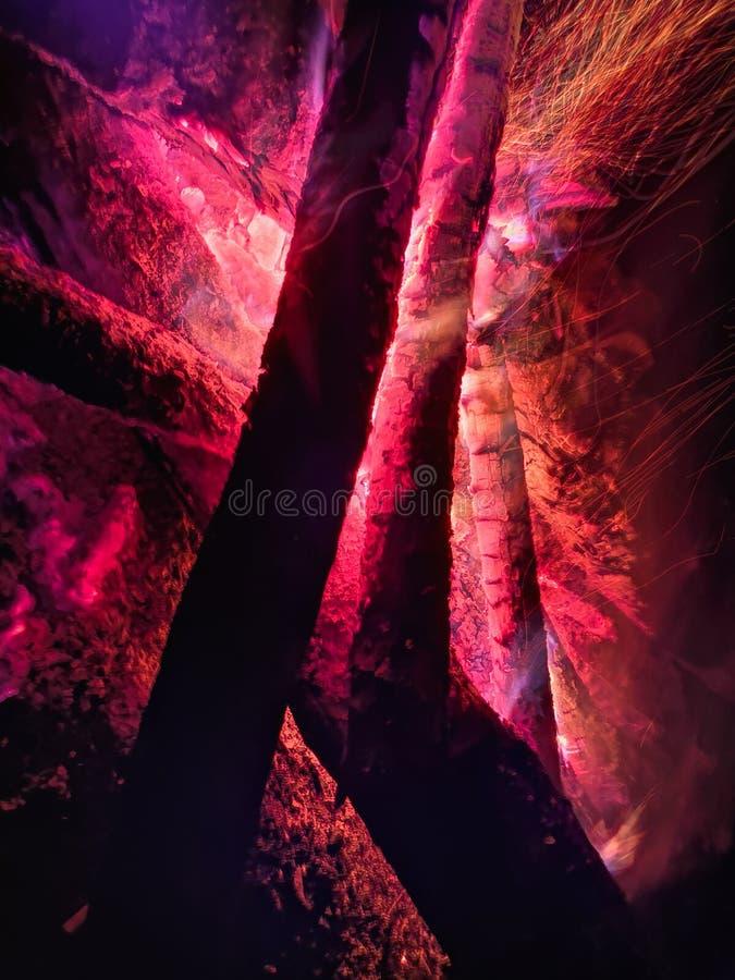 Fermez la flamme du feu du feu de marche, mouvement lent superbe de bois brûlant Feu lumineux avec de belles étincelles Flamme or image stock