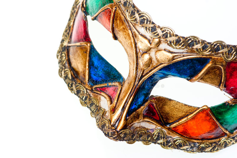 fermez le masque d'isolement coloré vers le haut du whi vénitien photos stock