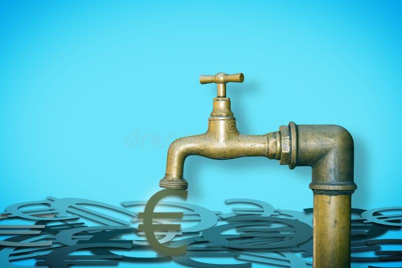 Fermez le robinet : ne gaspillez pas votre argent - image de concept avec le robinet de brassa duquel les euros sortent photos libres de droits