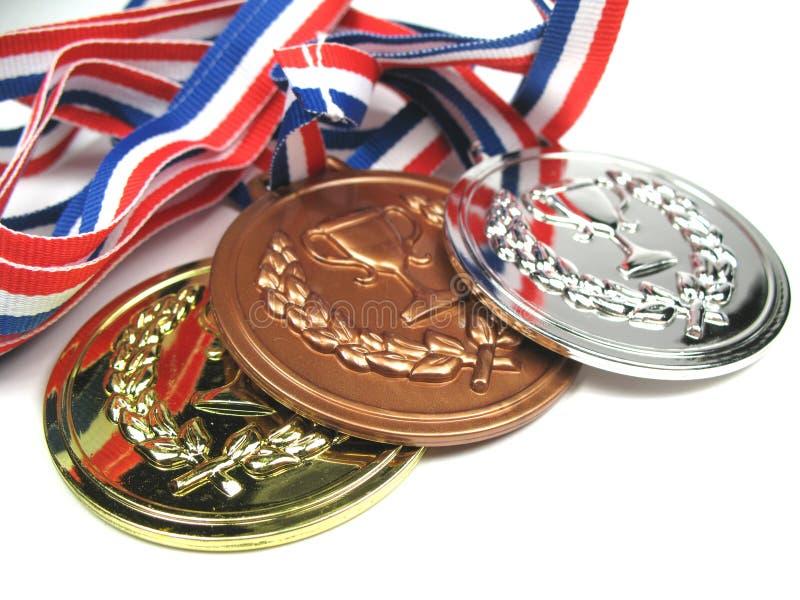 fermez les médailles vers le haut image libre de droits