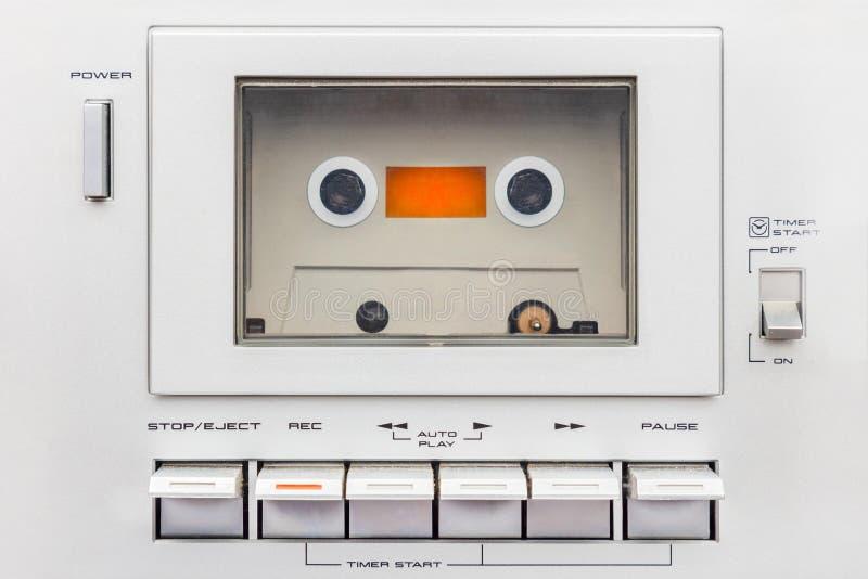 Fermez-vous d'un joueur de cassette sonore de cru images stock