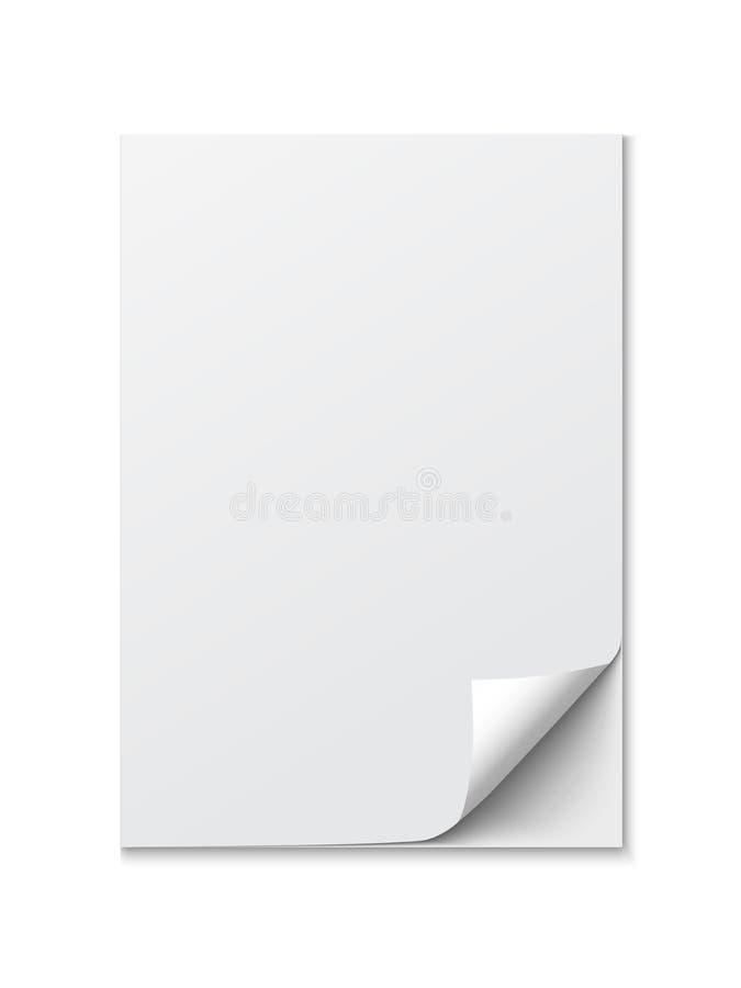 Fermez-vous d'un papier avec le bord courbé sur le fond blanc illustration libre de droits