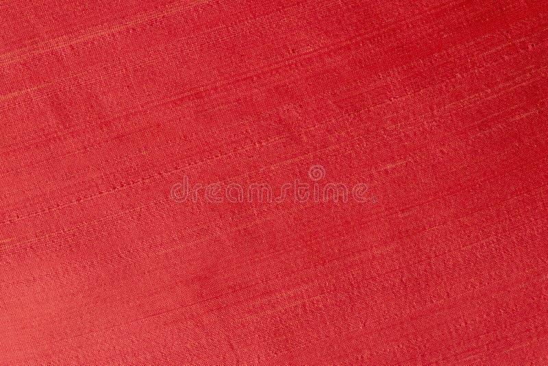 Fermez-vous d'un tissu de laine de couleur rouge d'écarlate Fond abstrait de toile, calibre vide photos stock