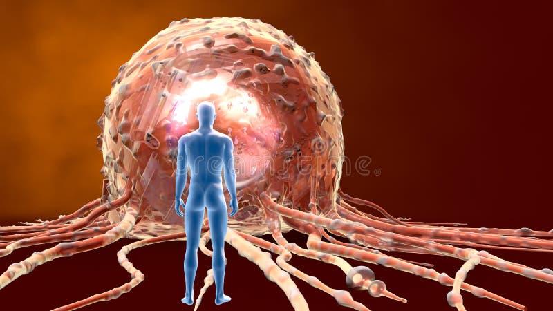 Fermez-vous d'une cellule cancéreuse, médicalement l'illustration 3D illustration de vecteur