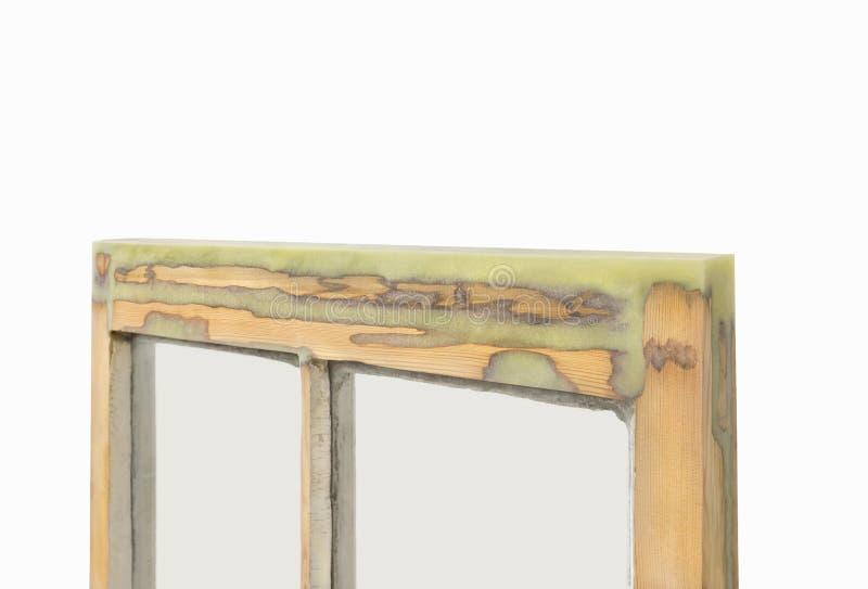 Fermez-vous d'une reconstituer et le châssis de fenêtre préservé de ceinture a rempli WI image stock