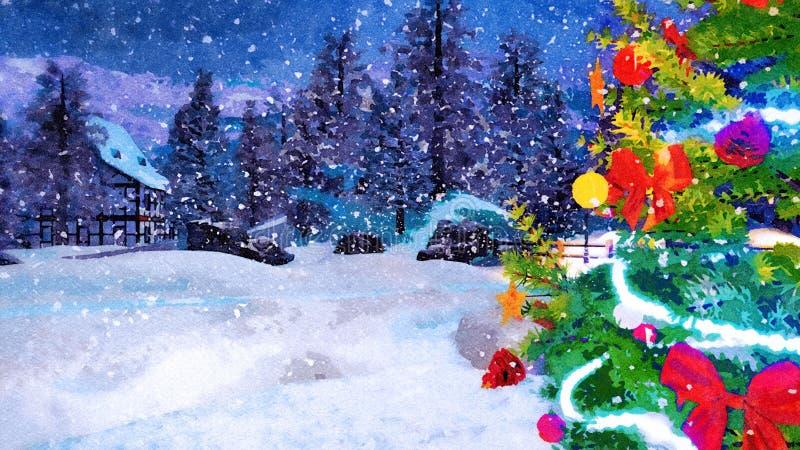Fermez-vous de l'arbre de Noël à l'aquarelle de nuit d'hiver images stock