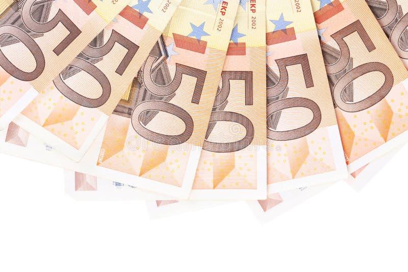 Fermez-vous de l'euro cinquante image stock