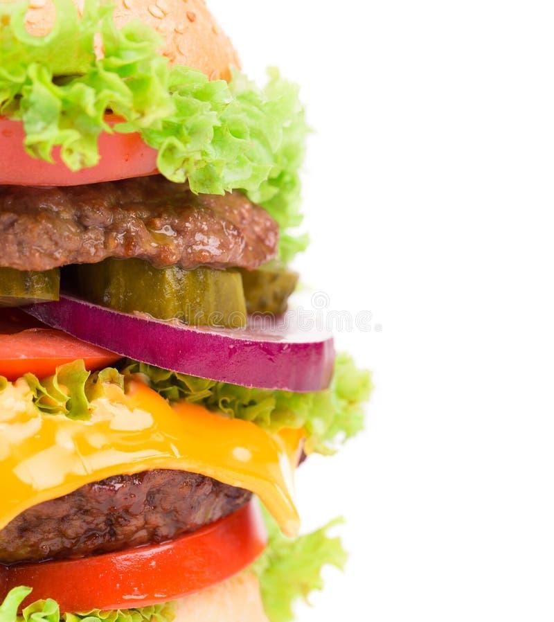 Fermez-vous de l'hamburger savoureux photographie stock libre de droits
